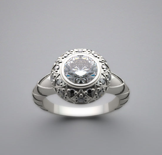 Right Hand Bezel Ring Setting for a 6.50 mm Diamond