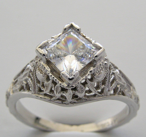 Princess Cut 5.5 mm Art Deco Filigree Setting