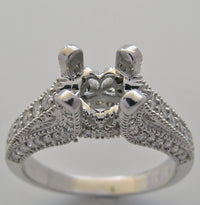 RING SETTINGS ANTIQUE ART DECO STYLE MIL GRAIN DIAMOND ACCENTS FOR A 6.00 MM CENTER DIAMOND