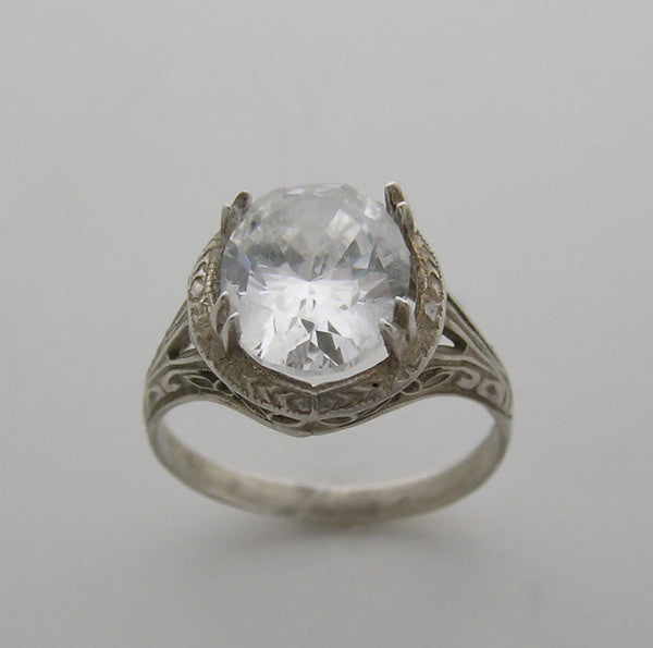 Art Deco Oval 11.00 x 9.00 mm Antique Style Filigree Ring Setting