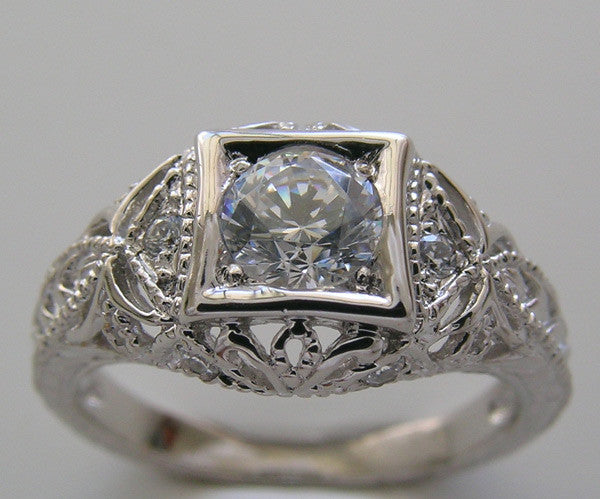 ART DECO STYLE FILIGREE DIAMOND RING SETTING FOR A 5.20 MM ROUND DIAMOND