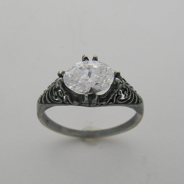 Antique Style Filigree Oval Ring Setting 7.00 x 5.00 mm Center
