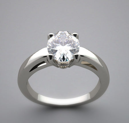 Oval Shape Stone Diamond Ring Setting 8.00 x 6.00 mm