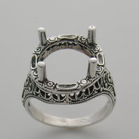 Antique Style Ring Setting for a round gemstone measuring 13.00 mm