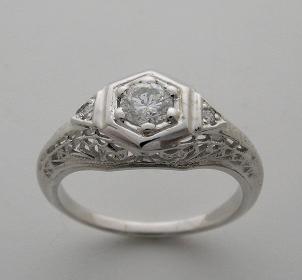 14k White gold diamond friendship ring Art Deco Style