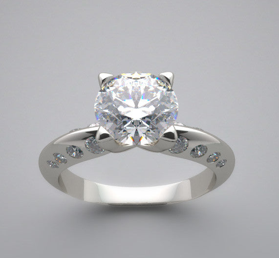 Sleek Diamond Ring Setting for a 6.50 mm Center Diamond