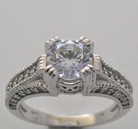 Diamond Ring Setting With Migraine Shown for a Round Center Diamond