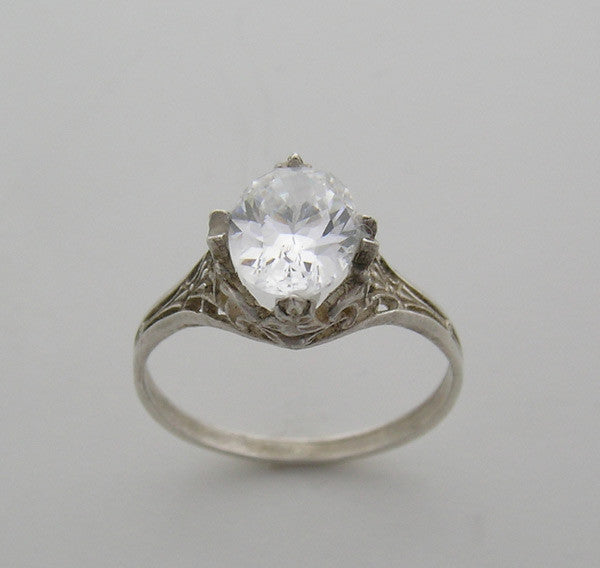 Art Deco Oval 8.00 x 6.00 mm Antique Style Filigree Ring Setting