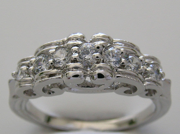 Diamond wedding Band with Swirl ribbon design