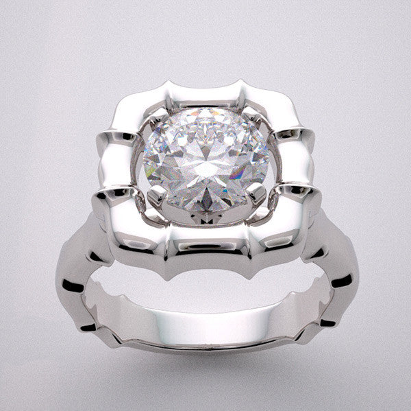 Bamboo Design Ring Setting shown with a round cut diamond