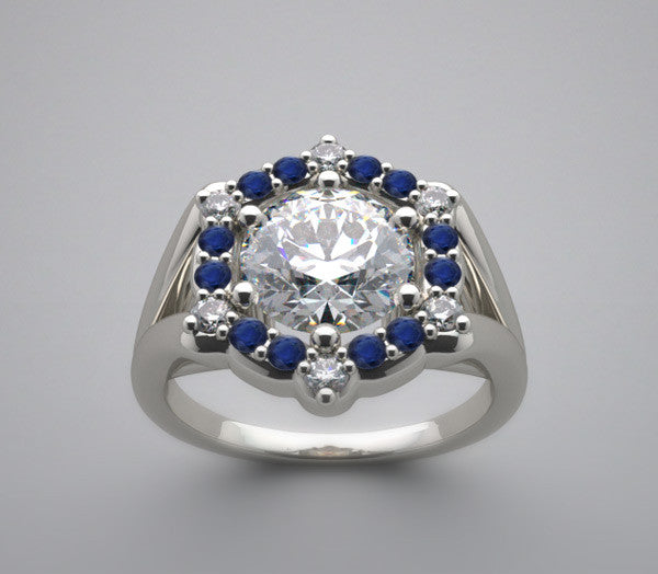 Diamond Ring Setting for a 7.00 mm Round Gemstone