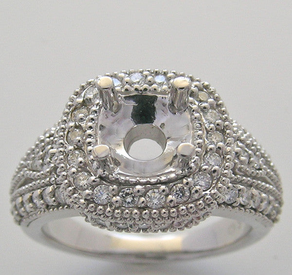Engagement ring setting or remount Square Stone Design for a 1.00 Carat round diamond