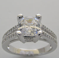 Engagement Diamond Ring Setting for a 7.00 x 7.00 mm Princess or Emerald Cut Diamond
