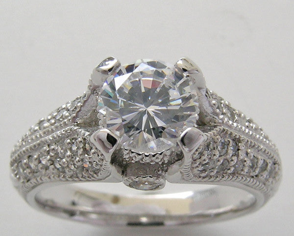 PAVE DIAMOND ENGAGEMENT RING SETTING FOR A 6.00 MM ROUND DIAMOND