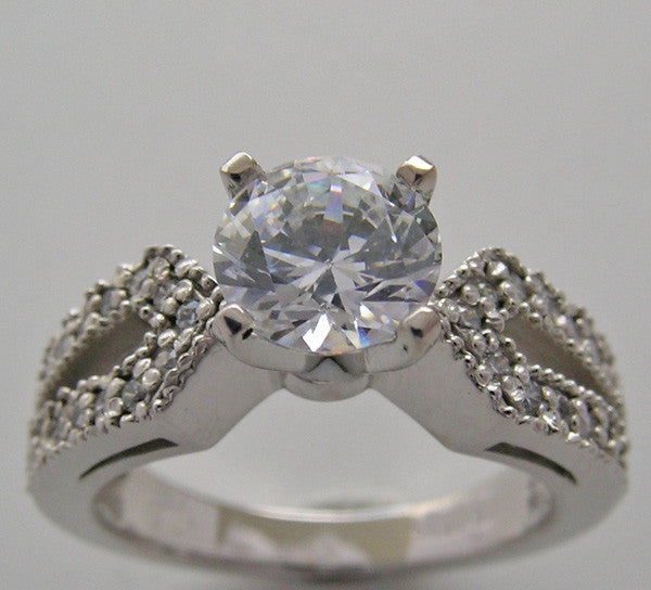 SPLIT SHANK DIAMOND ACCENTED ENGAGEMENT RING SETTING FOR ALL SIZE AND SHAPE GEMSTONE