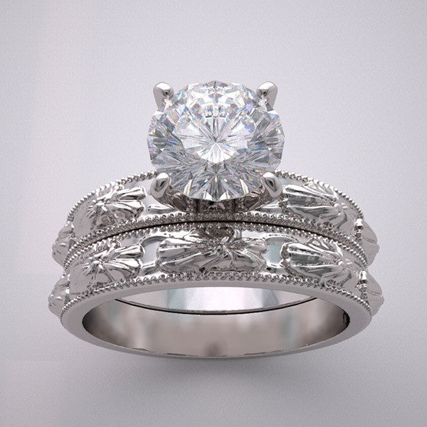 OMANTIC FLOWER BLOSSOM ENGAGEMENT SETTING BRIDAL RING SET