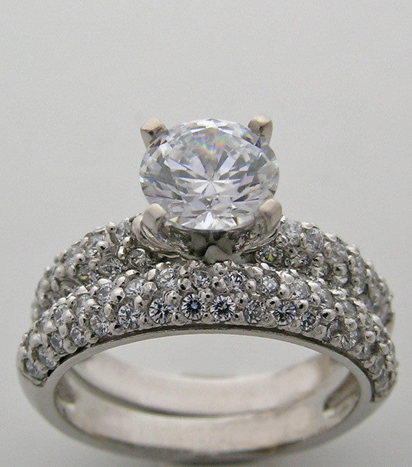 PAVE DIAMOND ENGAGEMENT RING SETTING SET