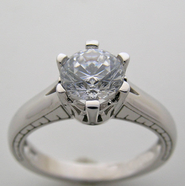 Solitaire Classic Ring Setting or Re-Mount for a 1.00 Ct Round Diamond