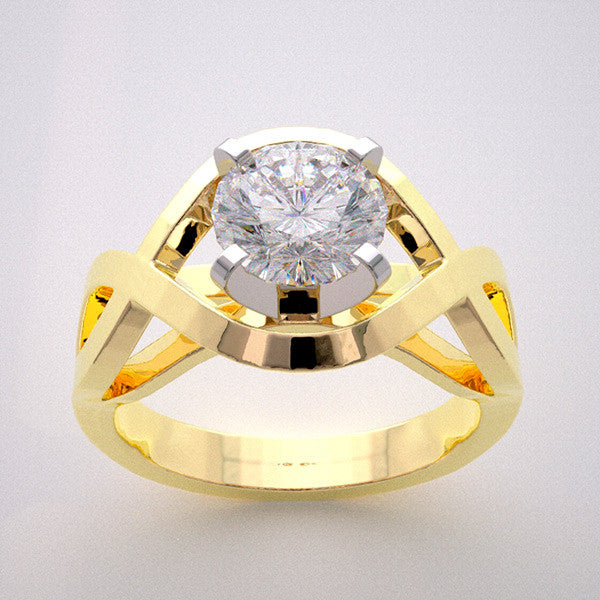 Modern Design Engagement Ring Setting show for a Round 1.00 Carat Round Diamond