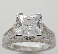 DIAMOND RING SETTING FOR PRINCESS MEASURING 7.00 X 7.00 MM