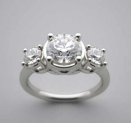 Three Diamond engagement ring setting for a round gemstone