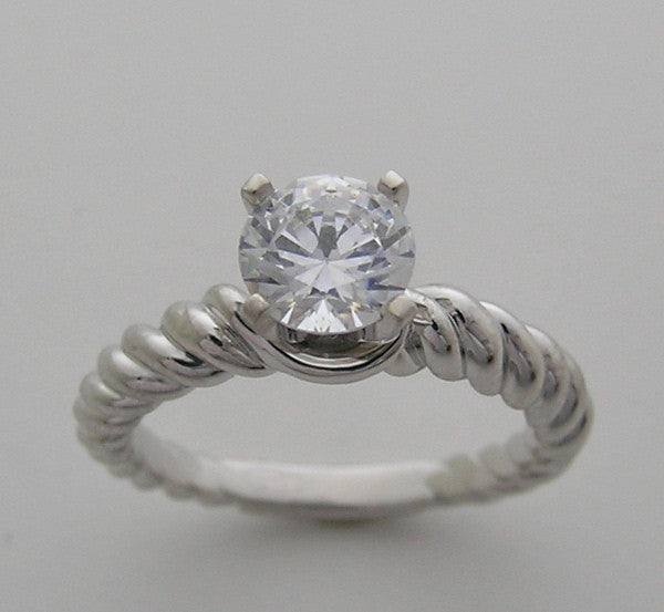 SOLITAIRE TWISTED TEXTURED RING SETTING FOR ALL SHAPE CENTERS WITHOUT CENTER STONE