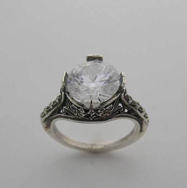 Engagement Ring Setting Art Nouveau Style for a Round 9.00 mm Diamond