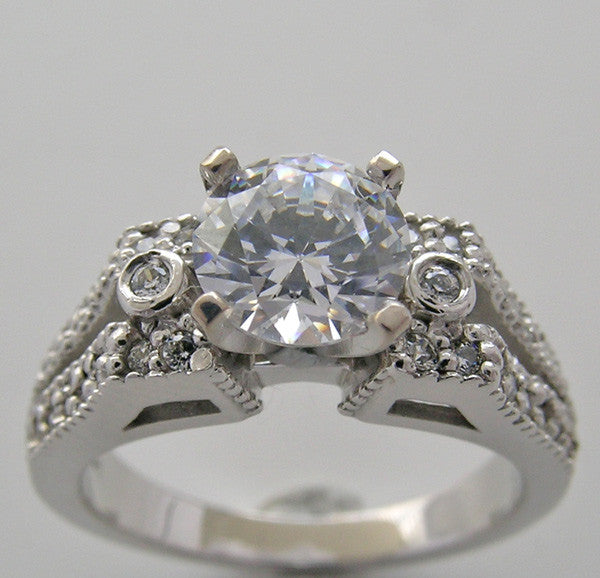 Diamond Ring Setting Shown for a 6.5mm Center Diamond