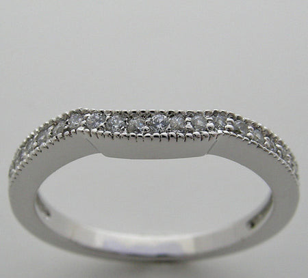 MATCHING WEDDING BAND RING WITH FEMININE DESIGN DIAMOND ACCENTS AND MIL GRAINING