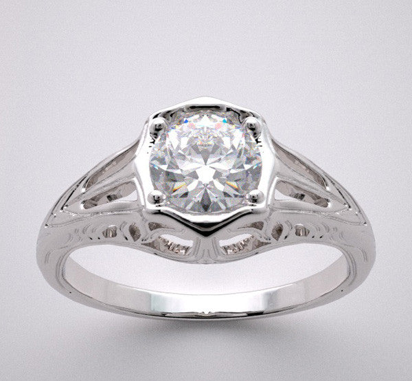 ANTIQUE ART DECO STYLE RING SETTING FOR A 5.00 MM ROUND DIAMOND