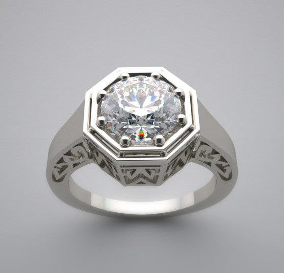ART DECO STYLE RING SETTING  7.00 MM ROUND DIAMOND