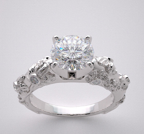 ART DECO STYLE DIAMOND ACCENT ENGAGEMENT RING SETTING