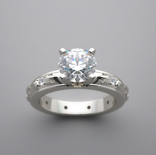 Floral Design Engagement ring setting for all diamond size and Shapes