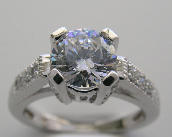 lovely 4 prong diamond accent engagement ring setting