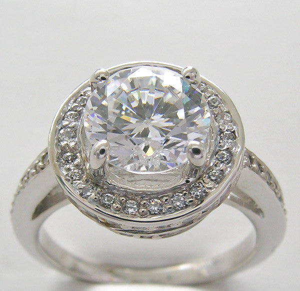 FEMININE DIAMOND HALO ENGAGEMENT RING SETTING FOR A 1.00 CT OR A 6.50 MM CENTER DIAMOND