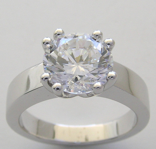 Heavy Classic Solitaire double Prongs ring setting for a 9.00 mm round diamond
