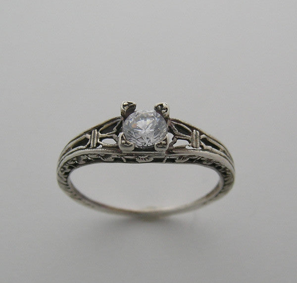 SOLITAIRE RING SETTING ANTIQUE VINTAGE ART DECO STYLE FOR A ROUND DIAMOND