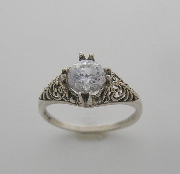 Feminine Ring Setting Vintage Art Deco for 0.75 Carat or a 6.00 mm Round Diamond