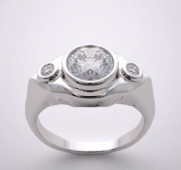 Non Traditional Three Stone Diamond Engagement Ring Setting