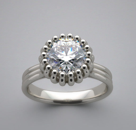 Solitaire Multi prong Design Ring setting for a 6.5 mm diamond