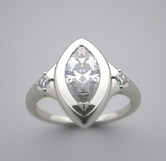 Marquise Shape ring setting with Princess cut diamonds