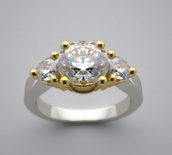 Two Tone Diamond Three Stone Ring Setting for a 1.25 Carat round diamond