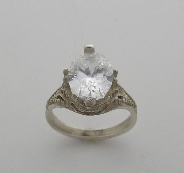 Art Nouveau Style Filigree Design Ring Setting for an Oval Shape 10.00 x 8.00 mm Stone