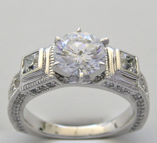 Diamond Ring Setting or Remount for a 7.00 mm Rose round Center Diamond