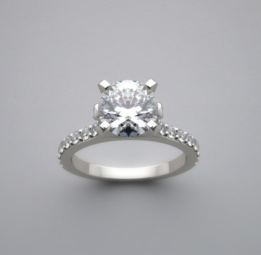 Feminine Engagement Ring Setting with Diamond Accents