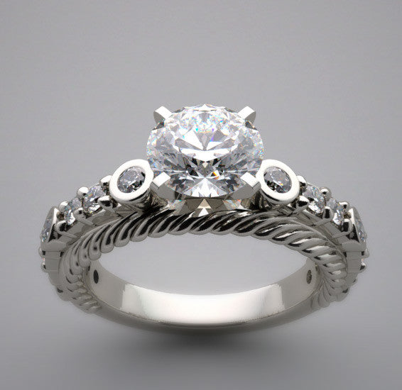 Diamond Ring Setting Shown for a 6.50 mm Center Diamond