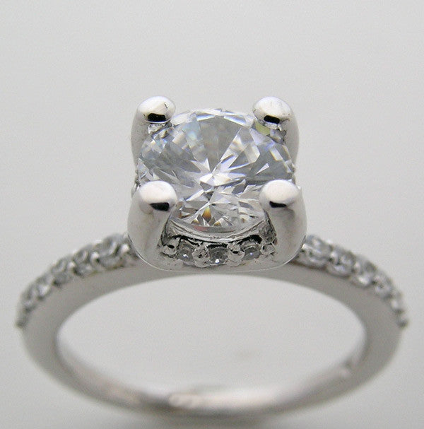 Elegant diamond engagement ring setting for a 6.5 mm or 1.00 Carat Diamond