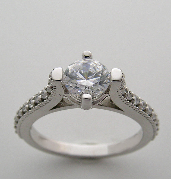 Diamond Ring Setting for a 6.00 mm Round Diamond or a 0.75 Ct Round Diamond