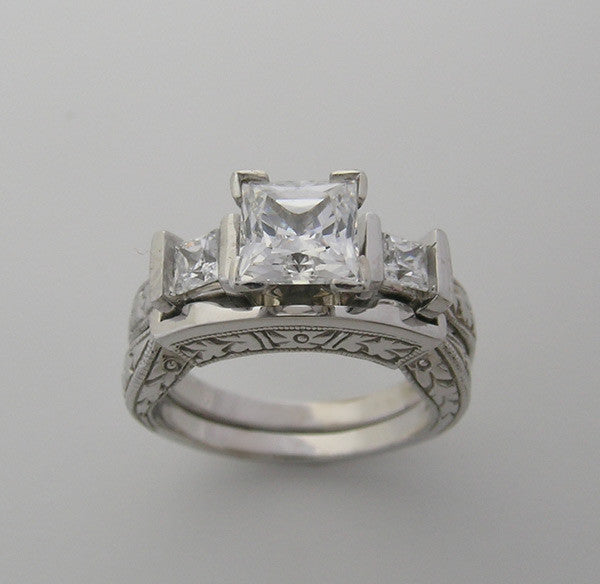 Three Stone Engagement Ring Setting Set  for Princess Cut Diamond