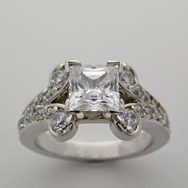 Engagement Diamond Ring Setting shown for a Princess Cut Center Diamond